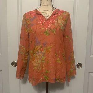 CAbi Silk Sheer Floral Blouse